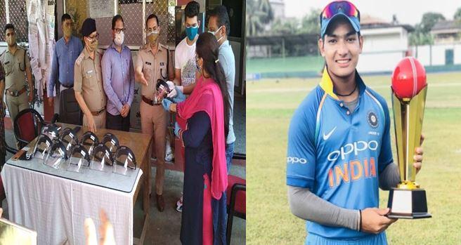 क्रिकेटर अनुज रावत ने की नैनीताल पुलिस की मदद,एक लाख रुपए की फेस शील्ड बांटी
