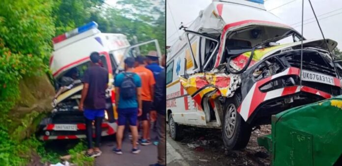 Haldwani: Accident of an ambulance carrying pregnant lady, all are safe
