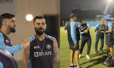 टी-20 वर्ल्ड कप से पहले टीम इंडिया के साथ जुड़े धोनी, अभ्यास के दौरान आए नजर